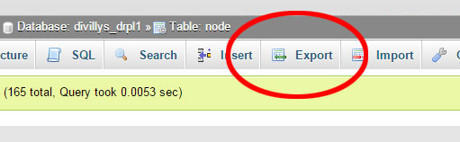 Exporting a table in phpMyAdmin