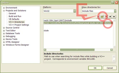 The Include files option in the VC++ Directories option