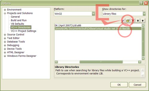 The Library files option in the VC++ Directories option