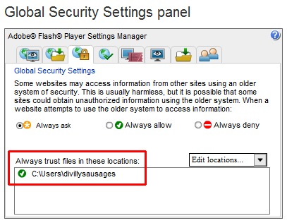 The Flash Player security settings dialog