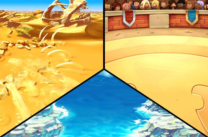 Some of combat backgrounds in the game