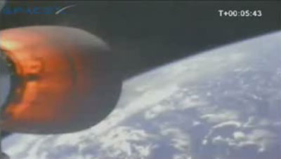 The earth, from space, from a camera on the side of Falcon 1