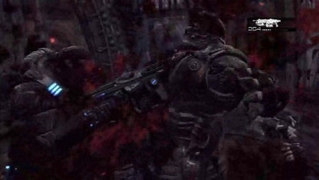 It's not very clear, but this is a bad guy getting chainsawed