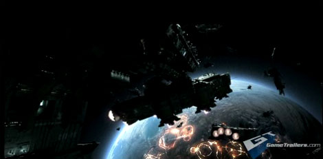 A slightly obscure image of ships heading towards a planet, from the backstory trailer of Halo Wars