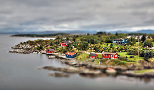 A HDR tilt-shifted image of Austrheim, Norway