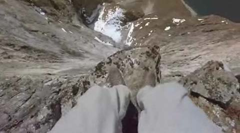 A first person view of a base jump