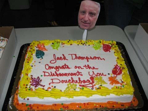 A cake celebrating Jack Thompson's disbarment