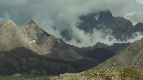 A still from the timelapse video of the Grandeur region of the Alps