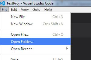Open a folder to create a TypeScript project