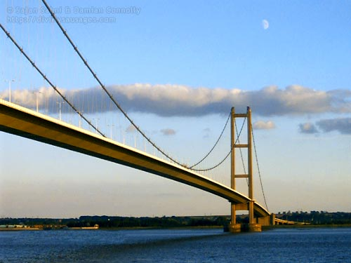 A view of the Humber Bridge with a ghost moon