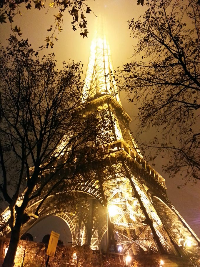 The Eiffel Tower, on a foggy night