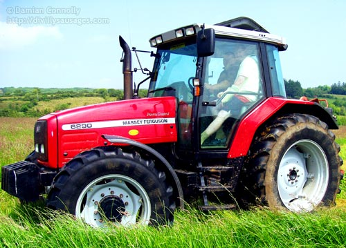 A red Massey Ferguson tractor